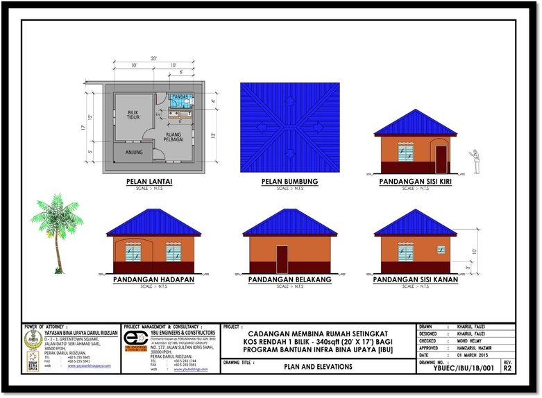 reka bentuk rumah 1 bilik